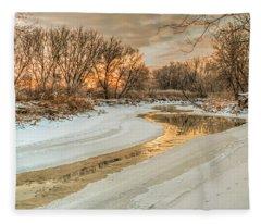Morning Light On The Riverbank Fleece Blanket