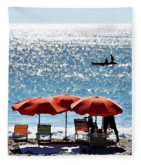 Morning On The Beach Fleece Blanket