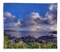 Morning Rain In Kaneohe Bay Fleece Blanket