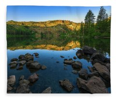 Morning Reflection On Castle Lake Fleece Blanket