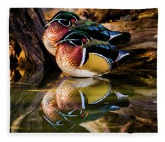 Morning Reflections - Wood Ducks Fleece Blanket