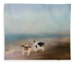 Morning Run At The Beach Fleece Blanket