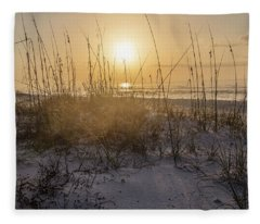 Morning Sunrise Over The Dunes  Fleece Blanket