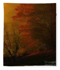 Morning Sunrise With Fog Touching The Tree Tops In Georgia. Fleece Blanket