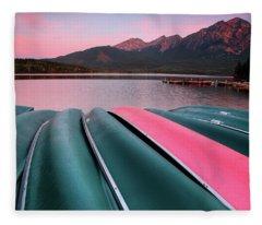 Morning View Of Pyramid Lake In Jasper National Park Fleece Blanket