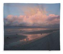 Morning Walk On The Beach Fleece Blanket