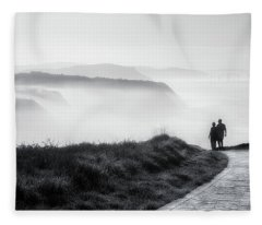Morning Walk With Sea Mist Fleece Blanket