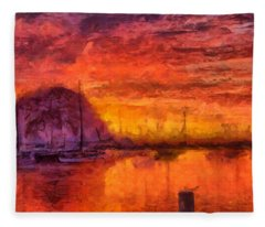 Morro Bay Marina Fleece Blanket