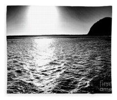 Morro Rock, Black And White Fleece Blanket