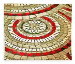 Mosaic Circular Pattern In Red And Gold Fleece Blanket