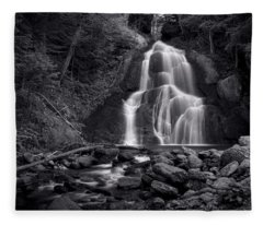 Moss Glen Falls - Monochrome Fleece Blanket