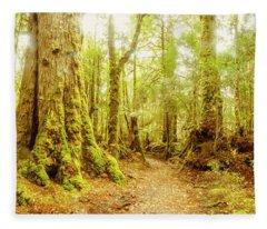 Mossy Forest Trails Fleece Blanket