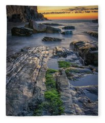 Mossy Rocks At Bald Head Cliff  Fleece Blanket