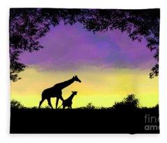 Mother And Baby Giraffe At Sunset Fleece Blanket