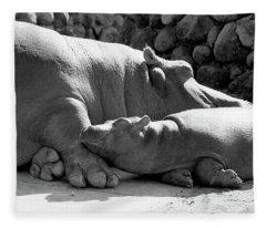 Mother And Baby Hippos Fleece Blanket