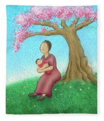 Mother And Child With Cherry Blossoms Fleece Blanket
