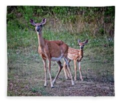 Mother And Fawn Fleece Blanket