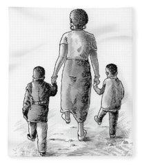 Mother And Kids Fleece Blanket