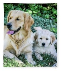 Mother And Pup Fleece Blanket