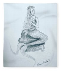 Motherhood Mermaid Fleece Blanket