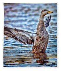 Mottled Duck Takeoff Fleece Blanket