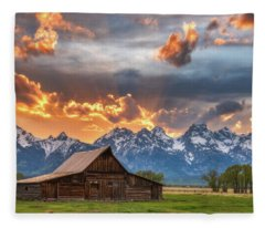 Moulton Barn Sunset Fire Fleece Blanket