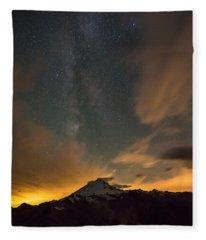 Mount Baker Milky Way Around Midnight Fleece Blanket