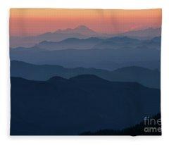 Mount Baker Sunset Landscape Layers Closer Fleece Blanket