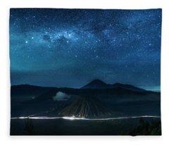 Mount Bromo Resting Under Million Stars Fleece Blanket
