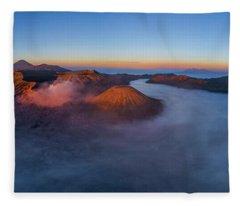 Mount Bromo Scenic View Fleece Blanket