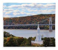 Mount Carmel And The Mid Hudson Bridge Fleece Blanket