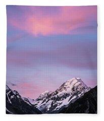 Mount Cook Sunset Fleece Blanket