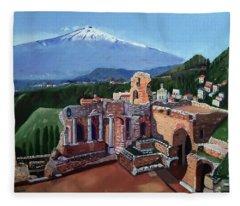 Mount Etna And Greek Theater In Taormina Sicily Fleece Blanket