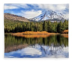 Mount Lassen Reflections Panorama Fleece Blanket