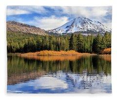 Mount Lassen Reflections Panorama Fleece Blanket