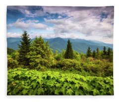 Mount Mitchell Asheville Nc Blue Ridge Parkway Mountains Landscape Fleece Blanket