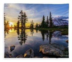 Mount Rainier Photography Golden Light Tarn Fleece Blanket