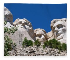 Mount Rushmore Close Up View Fleece Blanket
