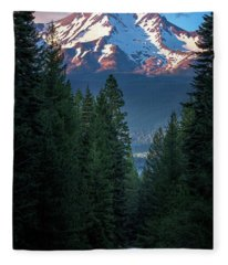 Mount Shasta - A Roadside View Fleece Blanket