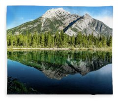 Mount Skogan Reflected In Mount Lorette Ponds, Bow Valley Provin Fleece Blanket
