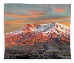 Mount St Helens Sunset Washington State Fleece Blanket
