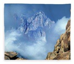 Mount Whitney Clearing Storm Eastern Sierras California Fleece Blanket