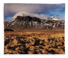 Mountain And Land, Iceland Fleece Blanket