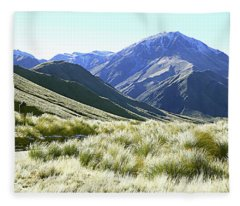 Mountain And Tussock Fleece Blanket