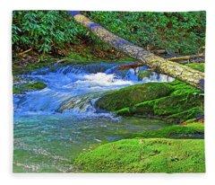 Mountain Appalachian Stream Fleece Blanket