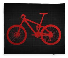 Mountain Bike - Red On Black Fleece Blanket