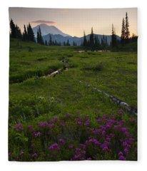 Mountain Heather Sunset Fleece Blanket