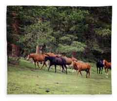 Mountain Horses Fleece Blanket