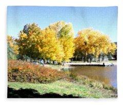 Mountain Lake Autumn Fleece Blanket