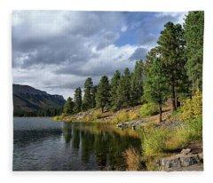 Mountain Lake In Autumn Fleece Blanket